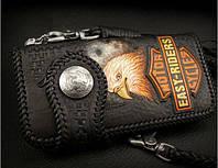Мужской байкерский кошелёк с орлом натуральная кожа ручная работа, подарок мужчине байкеру