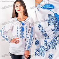 Женская вышиванка с голубой вышивкой крестиком Ярина
