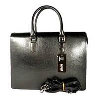 Деловая папка, портфель кожаный мужской Bond Non 1081-281 черный, 38,5*30*7 см