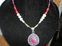 Навратна.Ожерелье с 9 драгоценными камнями.Подвеска с крупным рубином.