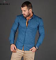 Рубашка мужская оптом синяя с коричневыми вставками