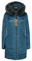 Теплый зимний женский пуховик с мехом чернобурки