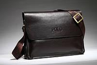 Стильная мужская кожаная сумка-мессенджер POLO для планшета