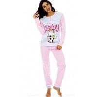 Женская утепленная трикотажная пижама (штаны+кофта)