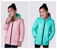 Детская удлиненная курточка двухсторонняя на молнии с капюшоном, на рост ( от 122 см-до 146 см)