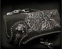 Мужской байкерский кошелёк Пират ручная работа, подарок мужчине байкеру