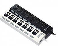 USB hub 7 port: USB 2.0 и 1.1, 480 Мбит, Plug & Play, адаптер для подключения к сети, индикаторы