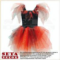 """Детские платье """"Маленькая Колдунья"""" красно-чёрное, карнавальное на Хэллоуин"""