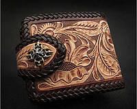 Мужской кошелёк ручная работа нутуральная кожа, эксклюзивный подарок мужчине байкеру