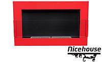 Биокамин Nice-House 65x40 см, красный, с стеклом