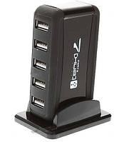 Разветвитель USB Hub, 7 портов, USB 2.0 кабель, сетевой адаптер 2А 110-240 В, подставка в комплекте