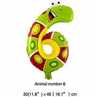 Фольгированный воздушный шар цифра 6