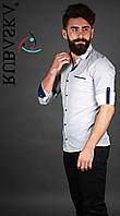 Стильная рубашка белого цвета с черными вставками
