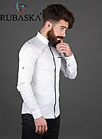 Хлопковая рубашка белого цвета в горох