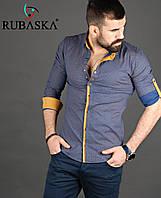 Приталенная мужская рубашка серого цвета