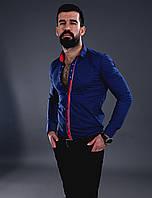 Мужская рубашка красивое сочетание синего и красного