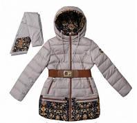 Пальто зимнее с шарфиком для девочки Donilo на тинсулейте , 134, 140, 146, 152, 158, 164