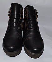 Мужские кожаные ботинки великаны, Big Boss, черные с коричневыми вставками