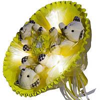 Светящийся букет из мягких игрушек Мишки желтый