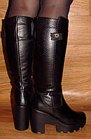 Сапоги на небольшом каблуке кожаные зимние
