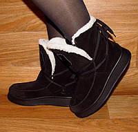 Ботиночки на толстой подошве зимние замша
