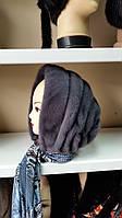 Женская норковая косынка цвет ирис на цветной ткани