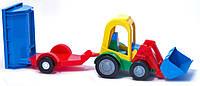 Игрушечная машинка трактор с ковшом и прицепом Wader (39229)