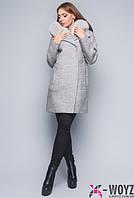 Зимнее пальто  свободного кроя с мехом песца серого цвета размеры 44,46,48.ПЛ8689
