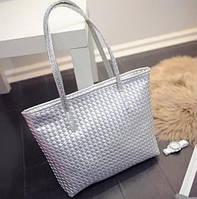 Большая женская сумка Переплетение в стиле Bottega Veneta трапеция серебристая