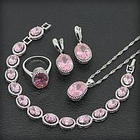 Комплект ювелирных украшений с розовым топазом серьги / подвеска / ожерелье / кольцо / браслет
