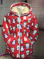 """Детская, подростковая куртка """"Пингвины"""" для девочек зима мех"""