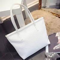 Большая женская сумка Переплетение в стиле Bottega Veneta трапеция белая