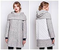 Молодежное осеннее пальто с плащевкой на спине и съемным хомутом e-alb02100