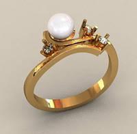 Оригинальное золотое кольцо 585* пробы с Жемчугом и Фианитами