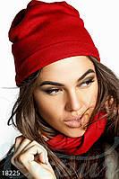 Стильный однотонный женский комплект двойная шапка и шарф снуд перекрученного кроя трикотаж с шерстью