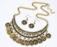 Комплект Бохо бронза/серьги и колье/бижутерия/цвет бронза
