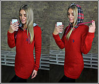 Женская теплая туника Поло с капюшоном