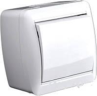 Выключатель одинарный накладной белый LMR2001,серия Магнолия,Lemanso