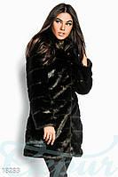 Удлиненная стильная женская шуба со съемным поясом из экокожи рукав длинный эко мех