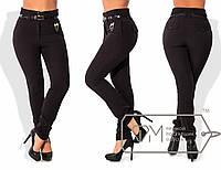 Модные женские брюки для пышных модниц (теплые, флис, высокая посадка, поясок в комплекте) РАЗНЫЕ ЦВЕТА!