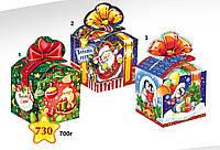 """Новогодняя упаковка 730*2*3 """"Куб с бантом - синий"""", """"Куб с пингвином"""""""