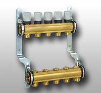 Распределительный коллектор с термостатическими клапанами из латунного профиля, 2 контура