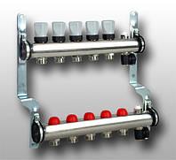 Универсальный распределительный коллектор из нержавеющей стали с интегрированными термостатическими клапанами, 8 контуров