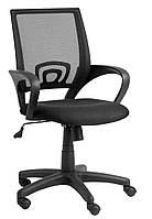 Кресло компьютерное на колесиках с тканевой спинкой сетка, офисное черное с ручками