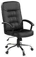 Кресло офисное на колесиках черное кожаное с ручками и подьемным механизмом