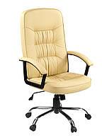 Кресло офисное на колесиках кремовое кожаное с ручками и подьемным механизмом