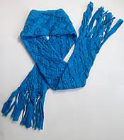 Красивый модный женский голубой шарфик для девушки подростка девочки