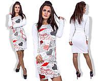 """Стильное молодежное платье мини  """" Губы и сердца """" Dress Code"""