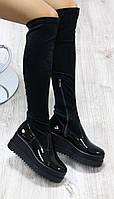 Осенние сапоги - чулок, черные