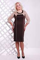 Женское  платье батал Стефани  Lenida шоколад  50-58 размеры